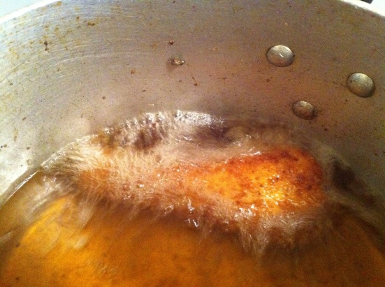 frying the drumstick