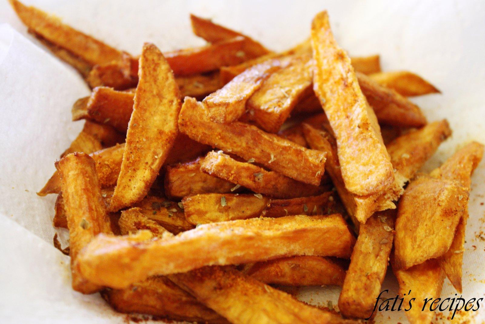 chilli sweet potato fries   fati's recipes