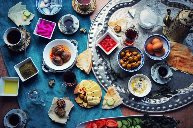 a typical syrian breakfast spread